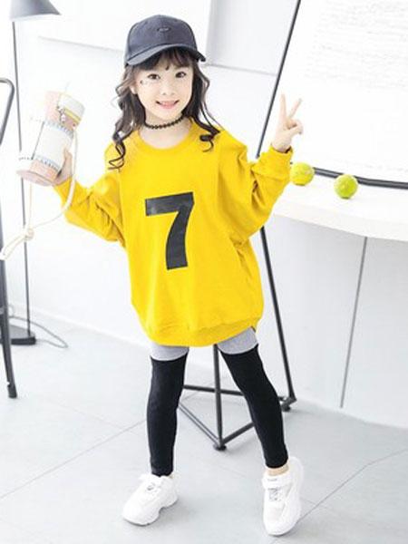 老顽童童装童装品牌2019春夏韩版洋气卫衣套装
