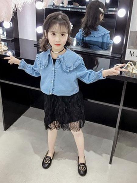 老顽童童装童装品牌2019春夏牛仔长袖衬衫纯色潮范长袖圆领
