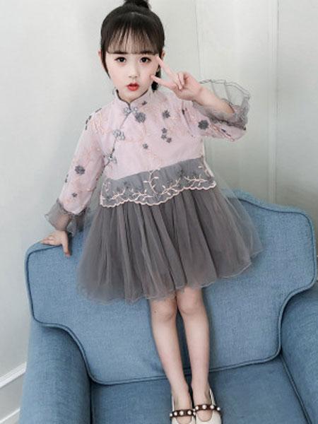 老顽童童装童装品牌2019春夏洋气金丝旗袍民族风连衣裙