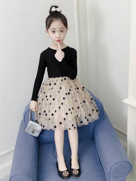老顽童童装童装品牌2019春夏韩版时尚超洋气五角星公主裙