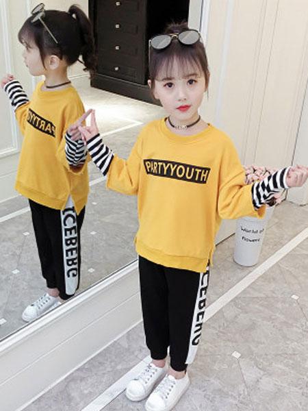 老顽童童装童装品牌2019春夏洋气字母拼接条纹袖子运动套装