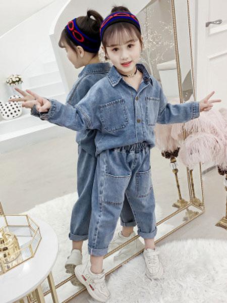 老顽童童装童装品牌2019春夏超酷牛仔纯色两件套