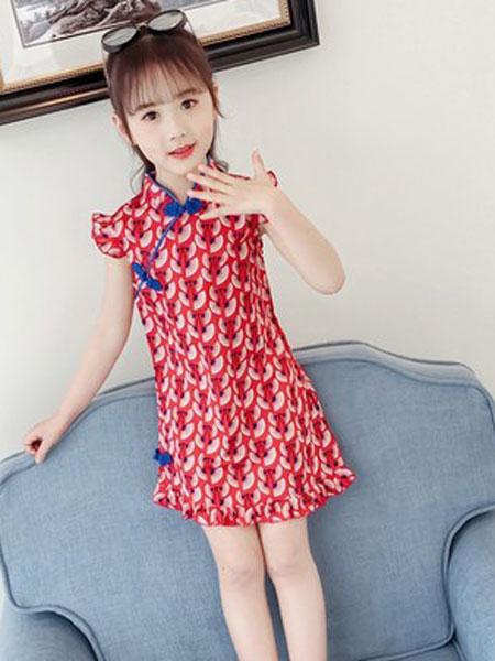 老顽童童装童装品牌2019春夏花朵田园短袖立领连衣裙