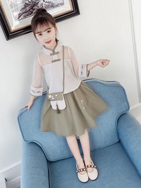 老顽童童装童装品牌2019春夏花朵雪纺网纱长袖连衣裙