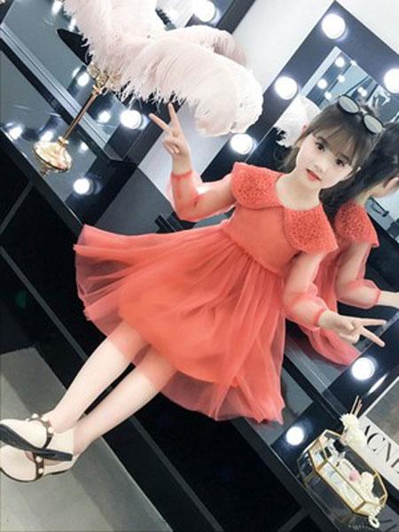 老顽童童装童装品牌2019春夏纯色公主长袖连衣裙童裙