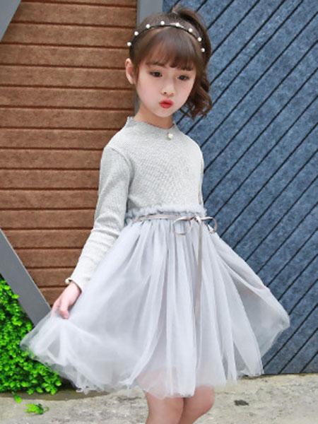 港角童装品牌2019春夏长袖裙子高腰礼服裙纱裙