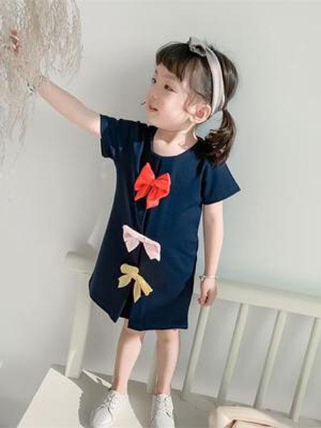 小占比童装品牌2019春夏蝴蝶结短袖女童连衣裙潮