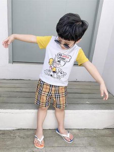 小占比童装品牌2019春夏卡通字母印花插肩袖儿童短袖T恤上衣
