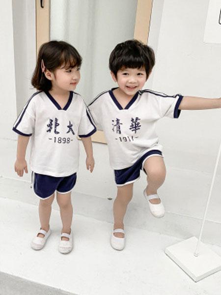 小占比童装品牌2019春夏创意文字印花儿童套装短袖运动服两件套潮