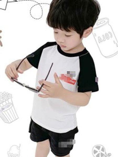 小占比童装品牌2019春夏插肩袖卡通纯棉儿童短袖T恤上衣潮