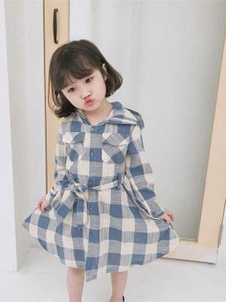小占比童装品牌2019春夏洋气宝宝装格子裙潮