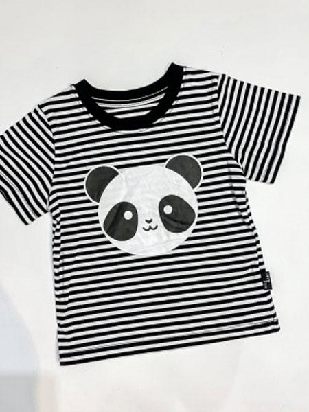 小占比童装品牌2019春夏条纹卡通印花短袖套头T恤打底衫潮