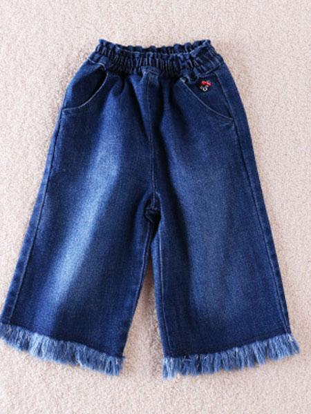 欧范莱斯童装品牌2019春季两色刺绣休闲款宽松口袋星星毛边牛仔