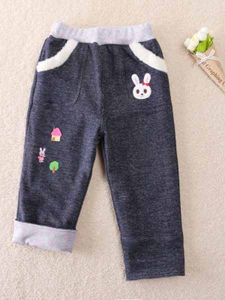 欧范莱斯童装品牌2019春季刺绣双层保暖长裤