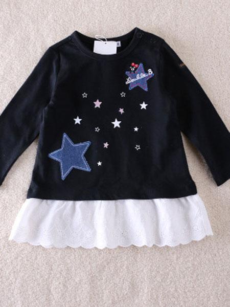 欧范莱斯童装品牌2019春季拼接蕾丝裙摆星星贴布印花百搭休闲长袖T恤