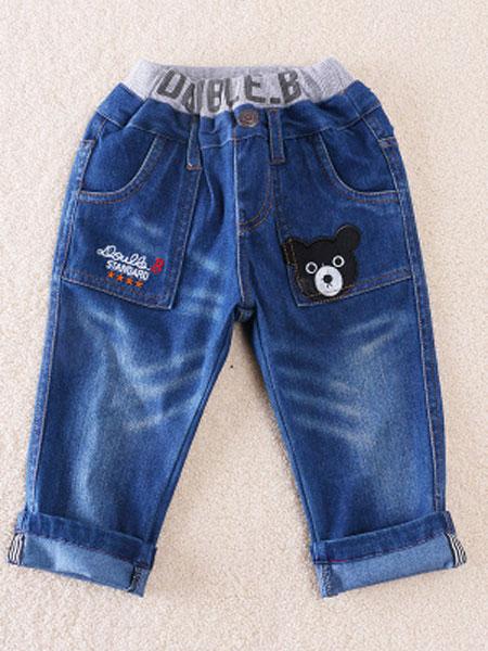 欧范莱斯童装品牌2019春季百搭男熊女熊贴布条纹可卷脚柔软牛仔长裤