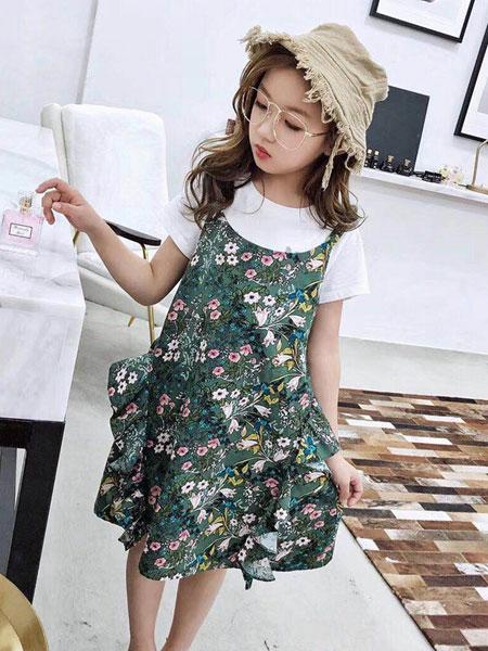 木子MUUZI童装品牌2019春夏印花个性木耳边短袖连衣裙