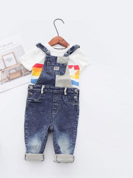 卡托菲童装品牌2019春夏全棉针织牛仔背带长裤连体裤