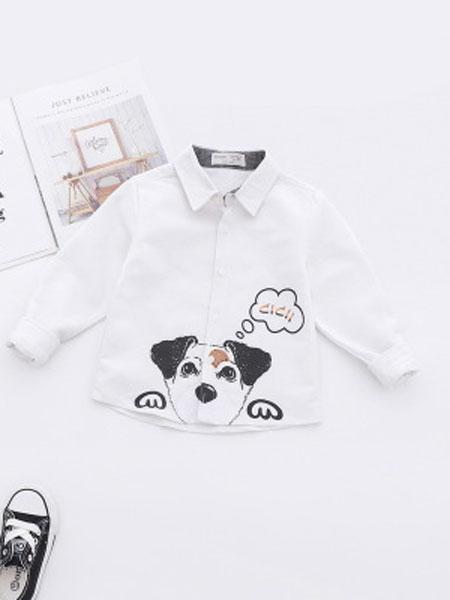 卡托菲童装品牌2019春夏印花卡通纯棉长袖衬衫
