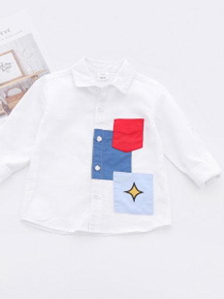 卡托菲童装品牌2019春夏拼块纯棉潮洋气衬衫