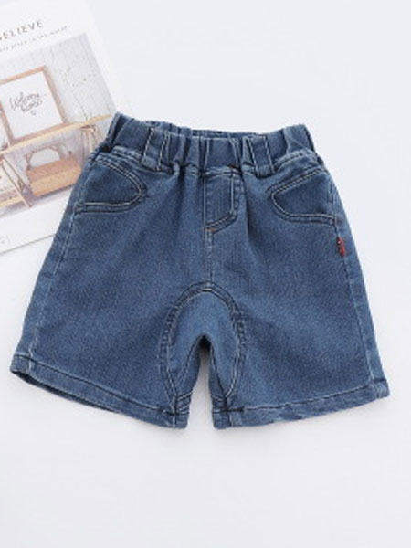 卡托菲童装品牌2019春夏水洗柔软牛仔短裤