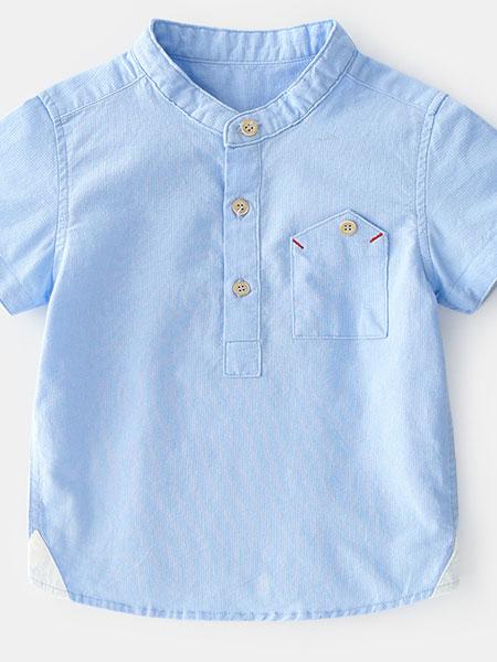 卡托菲童装品牌2019春夏纯棉立领舒适透气短袖衬衫