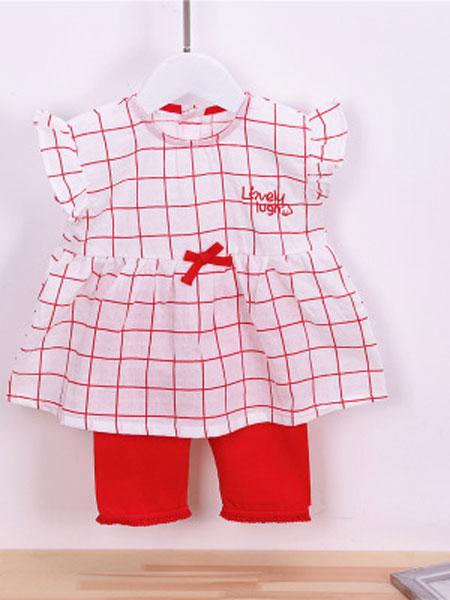 如毅童装品牌2019春夏圆领短袖红格子蝴蝶结童套装