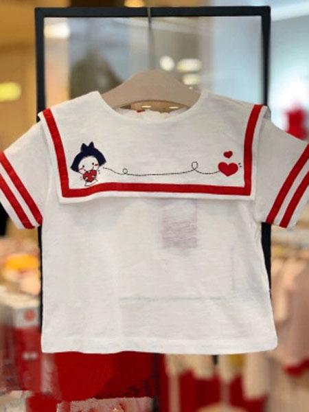 如毅童装品牌2019春夏白方领海军风可爱短袖T恤洋气上衣