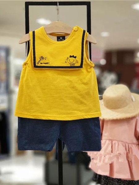如毅童装品牌2019春夏可爱背心套装黄色无袖大方领两件套