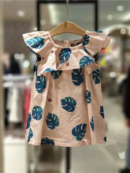 如毅童装品牌2019春夏时尚可爱荷叶领满印树叶粉色连衣裙