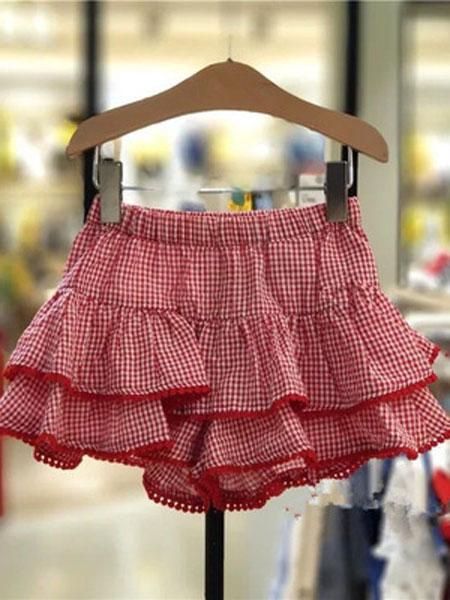 如毅童装品牌2019春夏格子可爱百褶半身童裤裙