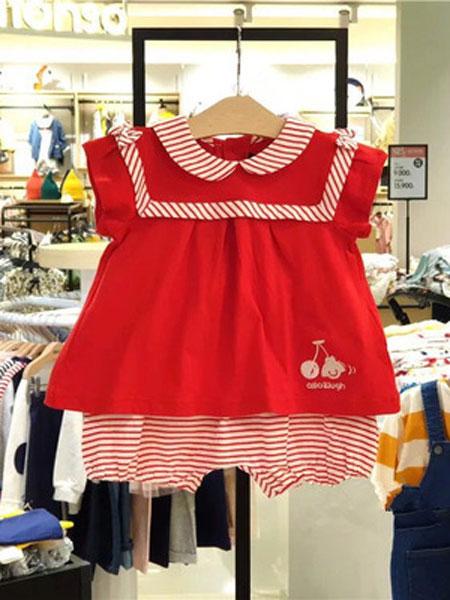 如毅童装品牌2019春夏洋气娃娃领红色短袖T恤