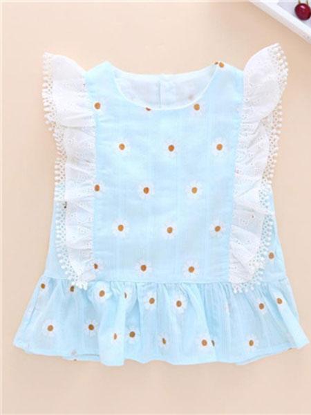 桔尔乐娃童装品牌2019春夏蓝色波点衬衫