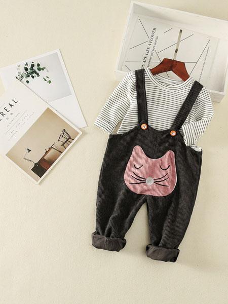 叙素童装品牌2019春夏卡通小兔子背带裤+T恤两件套