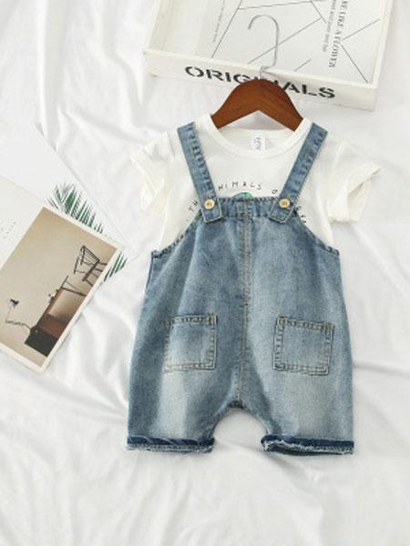 叙素童装品牌2019春夏牛仔背带裤薄款柔软牛仔短裤
