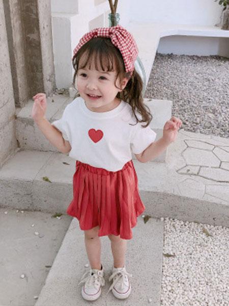 末小蒙童装品牌2019春夏韩版短袖短裙两件套装
