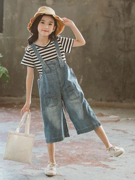 JUZITIGE/桔子虎童装品牌2019春夏条纹T恤牛仔阔腿裤两件套