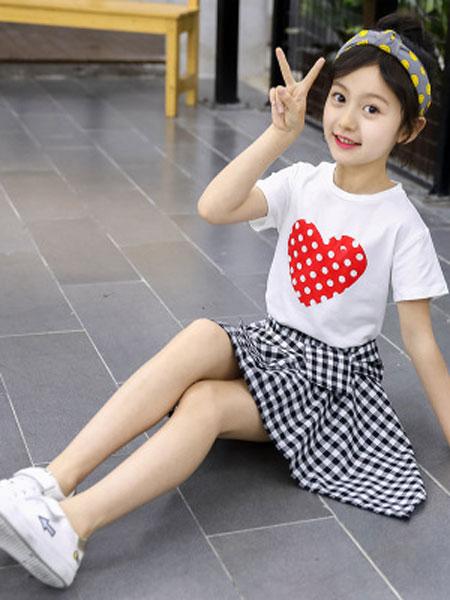 JUZITIGE/桔子虎童装品牌2019春夏爱心格子裙两件套