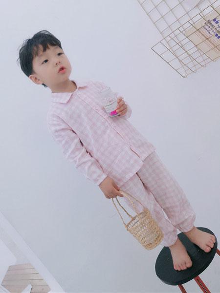 HYSUMICO童装品牌2019春夏格子双层纱布柔软儿童家居服