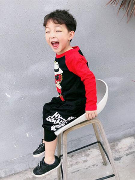 HYSUMICO童装品牌2019春夏印花插肩袖T恤儿童卡通长袖打底衫
