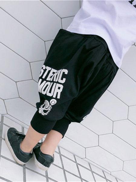 HYSUMICO童装品牌2019春夏印花娃娃舒适大裆七分裤