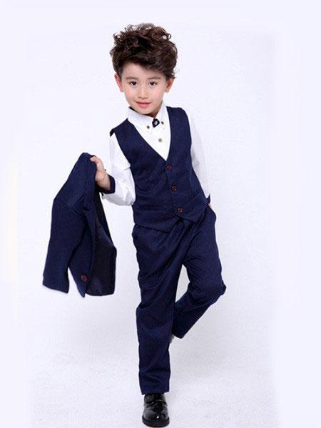 斑马火车童装品牌2019春夏男孩格子英伦风四件套