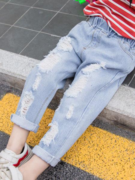光辰童装品牌2019春夏可爱潮范百搭中小童男女大口袋牛仔裤