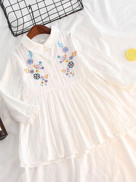 嗨米嗨乐童品童装品牌2019春夏纯棉花式棉质长袖连衣裙娃娃衫