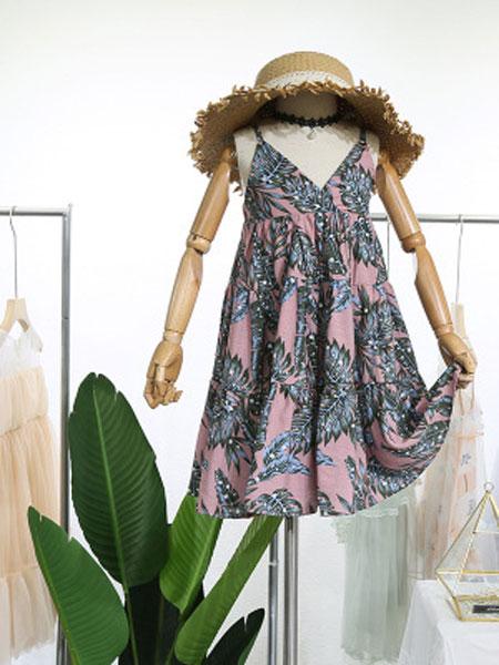 EHHE/卡卡鹿童装品牌2019春夏碎花度假海边沙滩裙