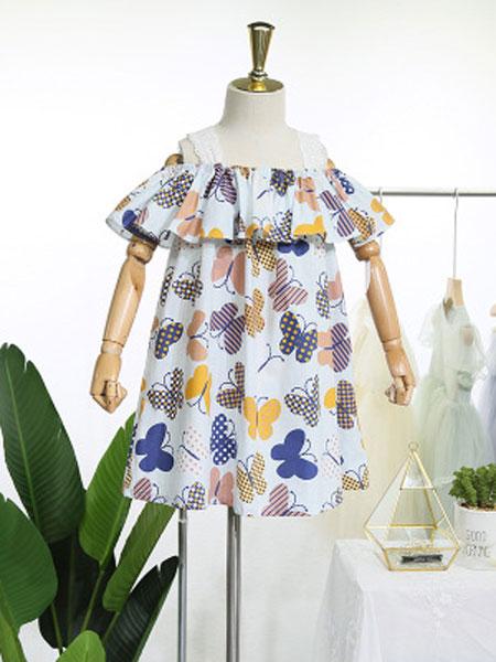 EHHE/卡卡鹿童装品牌2019春夏花边背心裙度假棉布裙子