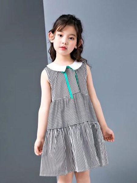 EHHE/卡卡鹿童装品牌2019春夏洋气竖条纹背心裙儿童棉布裙子