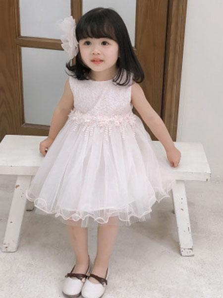 瑞业童装品牌2019春夏蕾丝无袖连衣裙