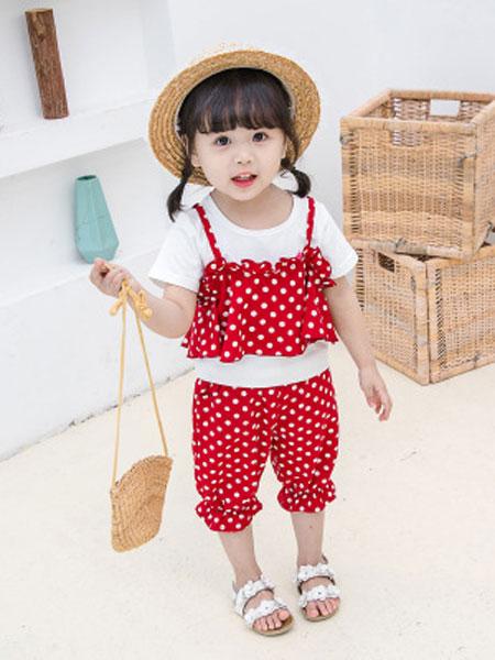 瑞业童装品牌2019春夏韩版吊带圆点两件套