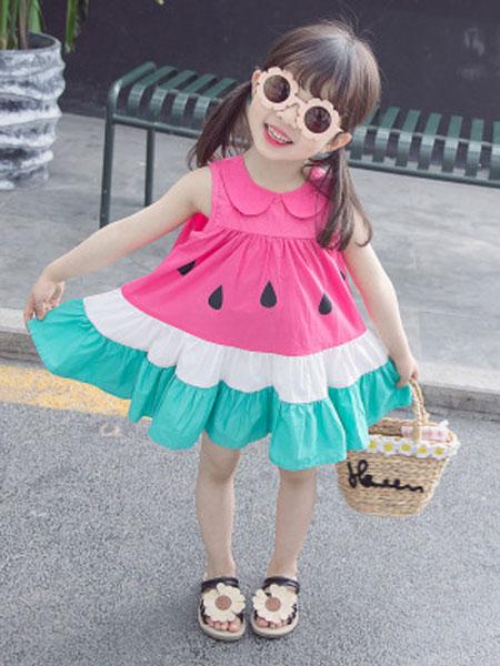 瑞业童装品牌2019春夏娃娃领西瓜连衣裙